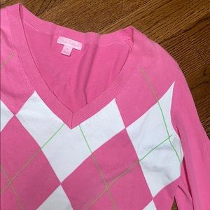 Lilly Pulitzer Pink Argyle V-Neck Sweater